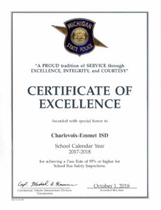 The certificate to Char-Em ISD Transportation Department from the Michigan State Police.